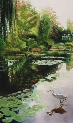 """Stalking Monet"" 36x22"" watercolor by Paul Jackson"