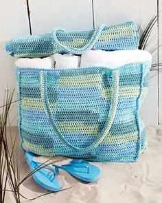 Cotton Stripes Beach Bag w/Mat: free pattern