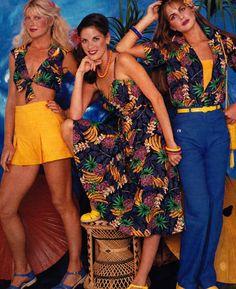 Hang Ten, Seventeen magazine, April 1980s vintage fashion style shorts pants dress shirt bandeau crop top floral island tiki hawaii blue yellow green color photo print ad models