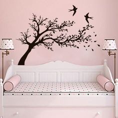 Tree Wall Stickers Bird Decals Flowers Decal Branch Art Vinyl Kitchen Baby Nursery Decor The size of the decal is