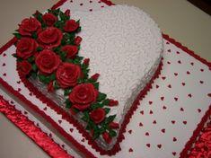 Birthday Wishes Cake, Birthday Cakes For Women, Happy Birthday Cakes, Cake Decorating Designs, Cake Decorating Videos, Cake Designs, Valentines Baking, Valentines Day Cakes, Heart Shaped Cakes