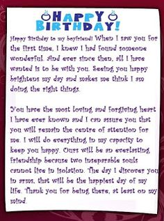 Sample Birthday Letters For Girlfriend Letter Happy Boyfriend Message Love