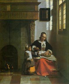 The Athenaeum - Woman Peeling Apples (Pieter de Hooch - )
