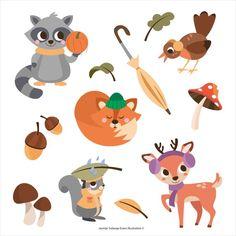 Autumn Cute Animal Illustration by Jasmijn Solange Evans Cute Animal Illustration, Pikachu, Cute Animals, Evans, Illustrations, Autumn, Fictional Characters, Design, Art