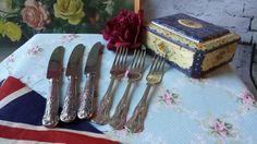 3 Sets Silver Plates Kings Pattern Cutlery by NostalgiqueBoutique