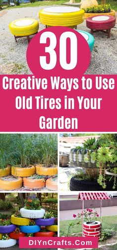 You will love these ways to use old tires in your garden! Turn old worn tires into stunning lawn art or garden projects with just a few steps! This list has tons of excellent ways to use old tires! Turn tires into planters, lawn art, garden decor, sculptures, or compost bins using these great tips! #Garden #GardenTips #OldTires #Upcycle #Repurpose #Recycle #LawnArt #GardenDecor Cool Diy Projects, Garden Projects, Gardening For Beginners, Gardening Tips, Deck Design Plans, Making A Compost Bin, Tire Garden, Backyard Swings, Plant Crafts