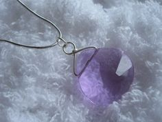 Light Purple Silver Wrapped Necklace and Earrings by JetRavenBlack, $5.00