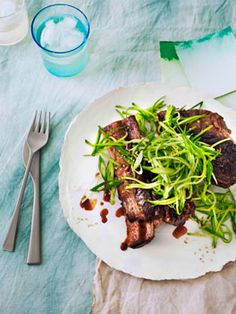 Sticky beef ribs with cucumber sesame relish (use coconut sugar instead of 'rock' sugar).