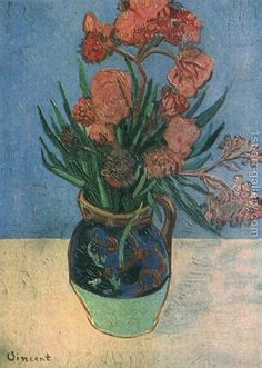 Vincent van Gogh Vase with Oleanders - The Largest Art reproductions Center In Our website. Low Wholesale Prices Great Pricing Quality Hand paintings for saleVincent van Gogh Vincent Van Gogh, Van Gogh Art, Art Van, Flores Van Gogh, Desenhos Van Gogh, Van Gogh Still Life, Van Gogh Flowers, Van Gogh Paintings, Dutch Painters