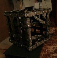 Jackal's cage from thirteen ghosts made from foam board hot glue and paint for Halloween
