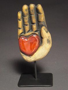 """""""Heart in Hand II"""" Ceramic Sculpture created by Cathy Broski on Artful Home"""