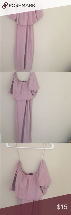 Sexy off the shoulder dress Super cute! No defects. Worn once. Hugs the body. 95% polyester and 5% spandex. Blush color. Can be worn on or off the shoulder. Super soft material! Dresses