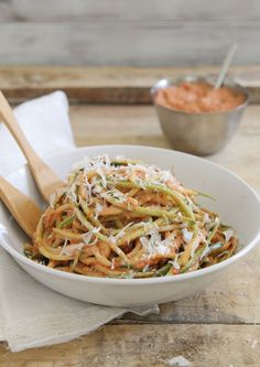 zucchini noodles with creamy roasted tomato basil sauce.