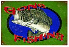 Vintage Gone Fishing Sign -