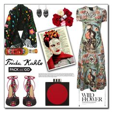 """Mi Frida"" by dorinela-hamamci ❤ liked on Polyvore featuring Jean-Paul Gaultier, Charlotte Olympia, NOVICA, FRIDA, Les Petits Joueurs, polyvorecontest, Packandgo and polyvoreditorial"
