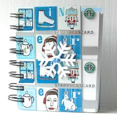 HOLIDAY STARBUCKS LARGER Upcycled Christmas Gift Card Spiral Notebook or Notepad