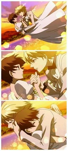 I love this ending seq - with shissou playing in the bkgd tamaki x haruhi