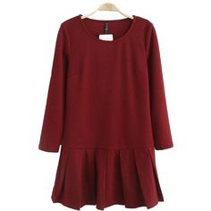 Dark Red Round Neck Long Sleeve Pleated Dress ($22) ❤ liked on Polyvore featuring dresses, pleated miniskirt, pleated mini skirt, longsleeve dress, short pleated skirt and short skirts