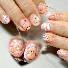 friendship forever bear nail art by Weiwei Heart Nail Designs, Cute Nail Designs, Chic Nails, Love Nails, Cute Nail Art, Beautiful Nail Art, Cartoon Nail Designs, Nail Ink, Beach Nail Art
