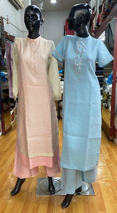 Product on the left: Chanderi beige kurta with pink lining and pink pants. Product on the right: Linen kurta and pants with gota work embroidery. (Design & Creation by RANJNA) _ For orders, appointments, online measurements or general enquiries please call Mr. Shishir Gupta - 77 22 000 459. #ranjna #ranjnapune #ranjnafabrics #chanderikurta #linenkurta #cottonkurta #kurta #gotawork #indianfashion #designerclothing #clothingdesigner #styleoftheday #buyonline #shoponline Pink Pants, Designer Clothing, Appointments, Indian Fashion, Beige, Embroidery, Clothes, Couture Clothes, Outfits