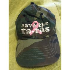 "Pink Ribbon, Breast Cancer Awareness Army Hat Pink Ribbon, Breast Cancer Awareness Army Hat w/ Adjustable Strap in the back. ""Save the Tatas""  Accessories Hats"