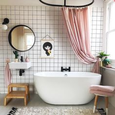 Bathroom Decor shower curtain Bathroom inspiration from andthentheywentwild masterclass in simple black and white bathroom. Pink shower curtain over freestanding bath Bad Inspiration, Bathroom Inspiration, Pink Shower Curtains, Shower Curtain Rods, Pink Showers, Bathroom Goals, Bathroom Ideas, Bathroom Pink, Family Bathroom