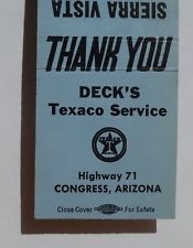 1950s Matchbook Deck's Texaco Service Sierra Vista Motel Congress AZ Yavapai Co