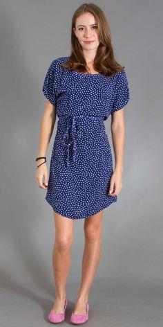 Splendid Polka Dot T-Shirt Dress in Denim/White $128.00
