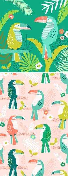 tropical toucan wendykendalldesigns                                                                                                                                                     More