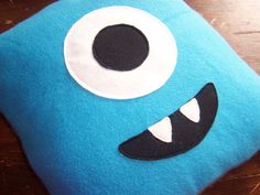 Childrens cushion cover blue happy monster face / pillow cover for boys $15