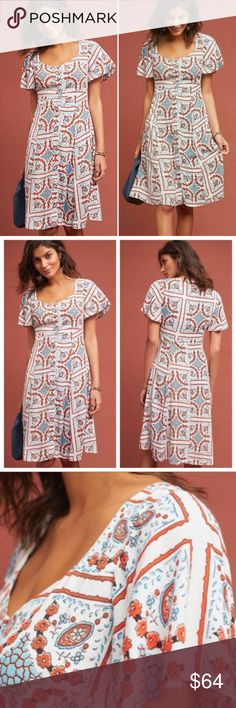 5e040ccb4ea6 Anthropologie Maeve   Praslin Button Midi Dress Brand new without tags -  extra button is still