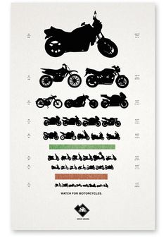 This modified eye chart is more representational than accurate, but, for the most part, it gets the point across. Designed by Salt Lake City-based creative director Gary Sume, this poster for the Utah Highway Safety office advises drivers to watch out for motorcycles.