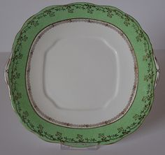 Vintage Salisbury China Cake Plate – Green, White and Gold by FelthamAntiques on Etsy