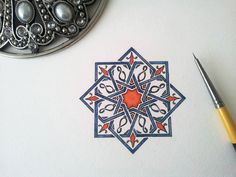 """It's done!! My first rosette painted!! #firsttime #rosette #islamicart #islam #art #geometry #islamicgeometry #design #pattern #watercolour"""