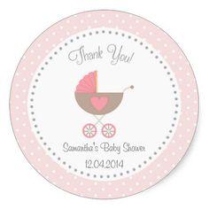 Baby Carriage Baby Shower Sticker Pink Round Stickers