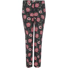 Marni Black Floral Printed Straight Leg Trousers ($840) ❤ liked on Polyvore featuring pants, floral trousers, floral-print pants, viscose pants, floral printed pants and straight leg trousers