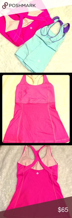Lululemon Pink and Blue Tank Top Both athletic tank top in very good condition.  Blue top has small spot discoloration as shown on picture but really not noticeable. Pink top is perfect and no flaws. Size is cut but these are size 4.  Pink has built in sports bra. Reasonable offers are welcome.  Selling for a friend  No trades lululemon athletica Tops Tank Tops