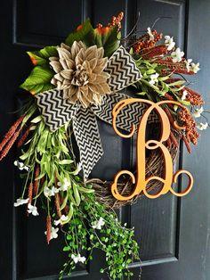 The Grand Fall Wreath With Vine Letter, Wreath for Thanksgiving, Chevron Burlap Wreath, Autumn Wreath, Fall Monogram Wreath, Fall Door Decor