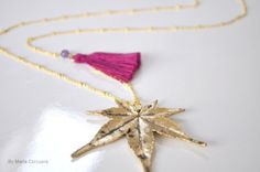 Gold plated Leaf and yarn long necklace by mariacorcuera on Etsy, €30.00