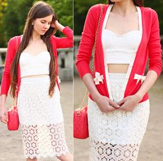 6ks Pink Cardigan, Romwe White Lace Crop Corset Top, Oasap White Lace Long Skirt, Romwe Pink Quilted Bag With Gold Chain