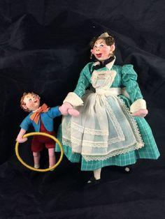 Klumpe or Roldan Vintage Cloth Dolls - Set of Two - Nursemaid with Boy and Hoop