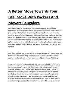 A better move towards your life; move with packers and movers bangalore