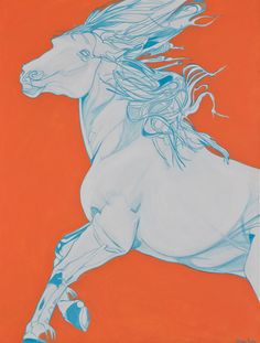 "As part of Yaheya's ""Year of the Horse"" series. White horse on a mandarin background caught in mid gallop. The background provides context to the mood of the horse #Saatchi Art #Artist #Yaheya Pasha #Painting #art #equestrian #horse #equine"