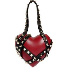 Valentino Women Carry Secrets Leather Heart Clutch ($2,665) ❤ liked on Polyvore featuring bags, handbags, clutches, white leather purse, white handbag, leather purses, valentino handbags and studded leather handbags