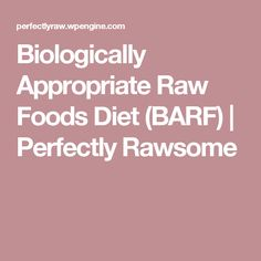 Biologically Appropriate Raw Foods Diet (BARF) | Perfectly Rawsome