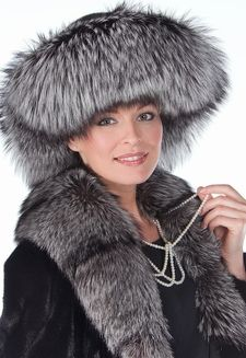 fox fur black hat for women