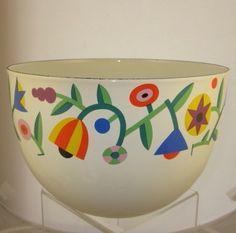 "MY FAVORITE Arabia Finland Kaj Franck Enamel Bowl RARE Geometric Abstract Flowers 8 1/4"" | eBay"