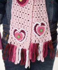 Free Crochet Valentine Scarf Duo Pattern....Great idea for Granddaughters....