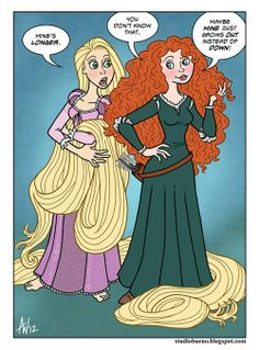 Rapunzel and merida fighting about who's hair is longer! LOL so funny