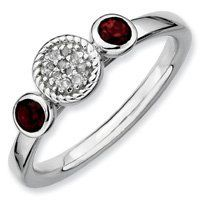 0.35ct Silver Stackable Db Round Garnet & Diamond Ring. Sizes 5-10 Available Jewelry Pot. $48.99. All Genuine Diamonds, Gemstones, Materials, and Precious Metals. 100% Satisfaction Guarantee. Questions? Call 866-923-4446. 30 Day Money Back Guarantee. Fabulous Promotions and Discounts!. Your item will be shipped the same or next weekday!. Save 59%!